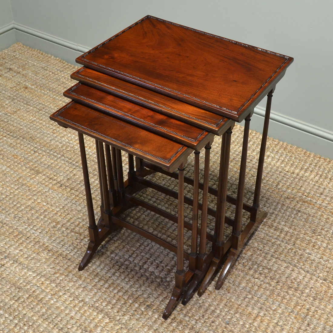 Spectacular Edwardian Mahogany Antique Nest of Four Tables by S&H Jewell of London