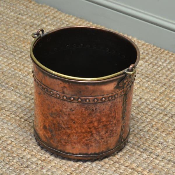 Decorative Victorian Antique Arts & Crafts Copper Log Bin / Coal Bucket