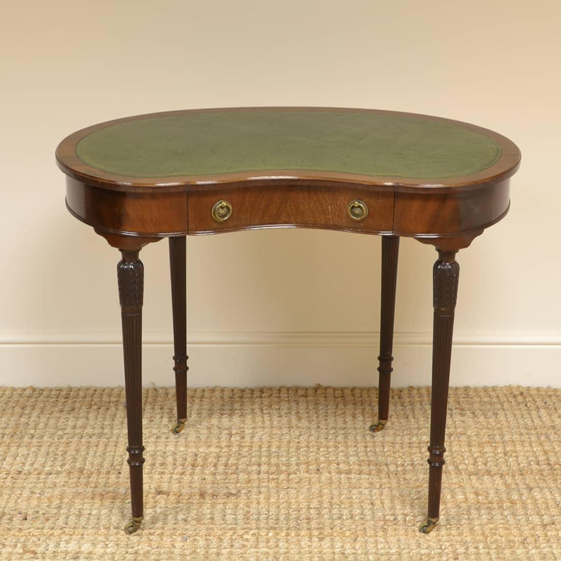 Mahogany Maple & Co Kidney Shaped Antique Writing Table