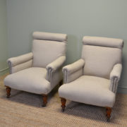 Superb Quality Pair of Victorian Upholstered Walnut Armchairs