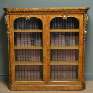 Striking Satin birch And Gilt Victorian Antique Bookcase