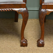Impressive Pair of Quality Edwardian Mahogany Chippendale Design Carver Arm Chairs