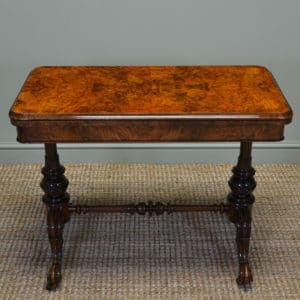 Superb Quality Figured Walnut Antique Card, Side / Writing Table