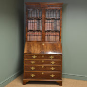 Superb Quality Edwardian Figured Mahogany Antique Bureau / Bookcase