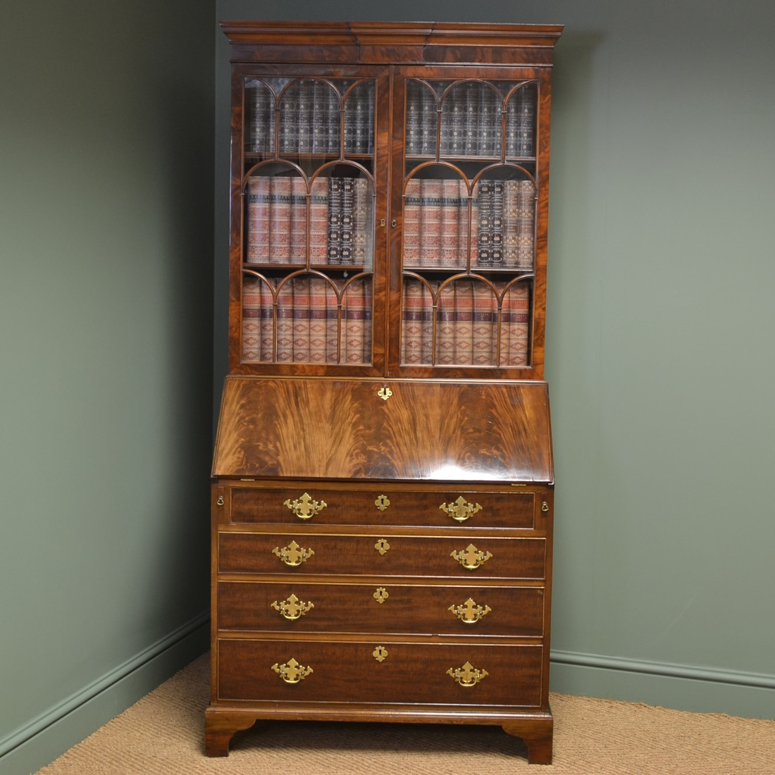superb quality edwardian figured mahogany antique bureau bookcase antiques world. Black Bedroom Furniture Sets. Home Design Ideas