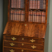 Superb Quality Edwardian Figured Mahogany Antique Bureau / Bookcase