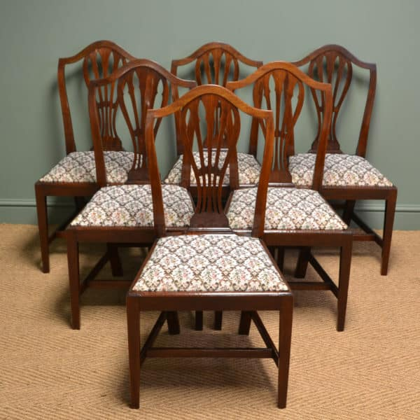 Quality Set Of Six Georgian Mahogany Antique Dining Chairs