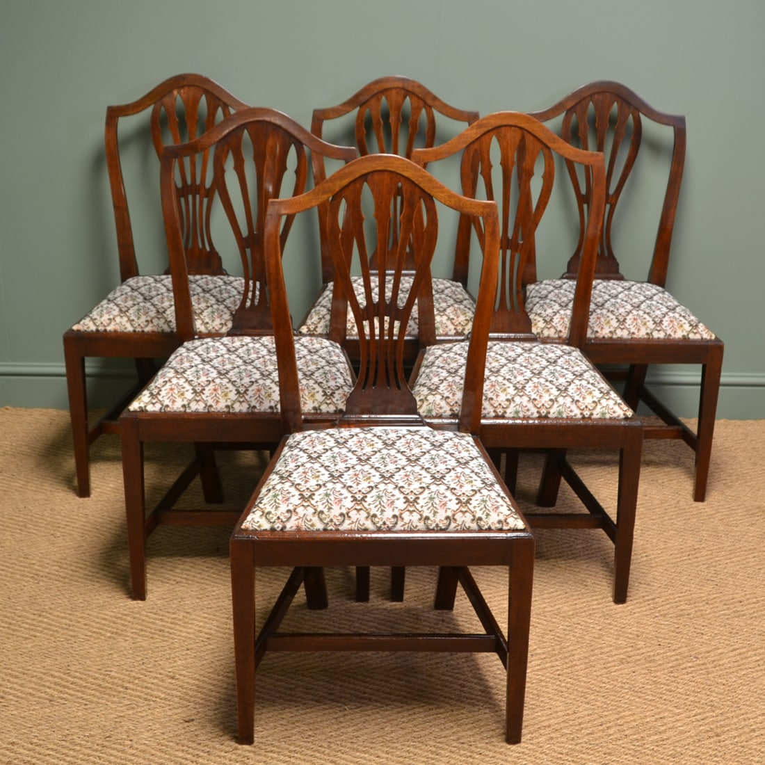 Quality Set Of Six Georgian Mahogany Antique Dining Chairs Antiques World