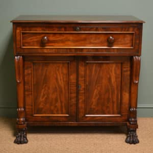 Spectacular William IV Antique Mahogany Secretaire Cupboard with Claw Feet