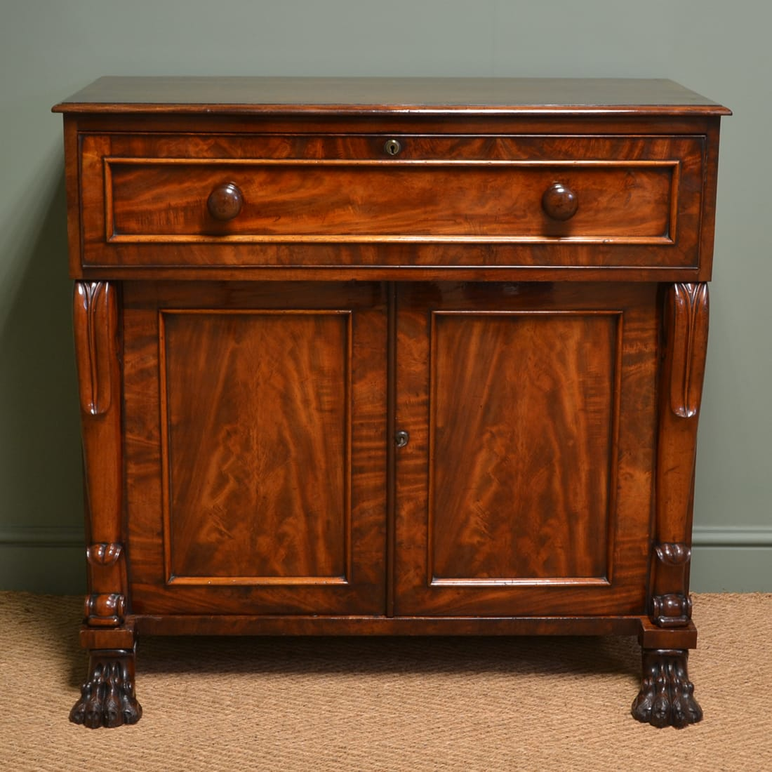 William IV Antique Mahogany Secretaire Desk with Claw Feet