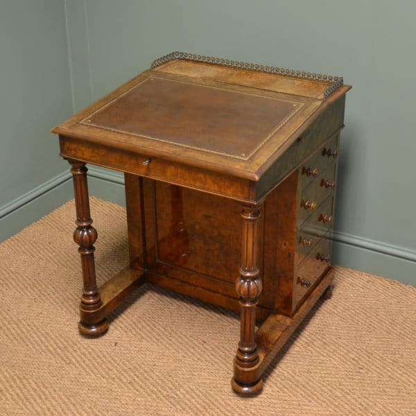Spectacular Figured Burr Walnut Victorian Antique Davenport Writing Desk