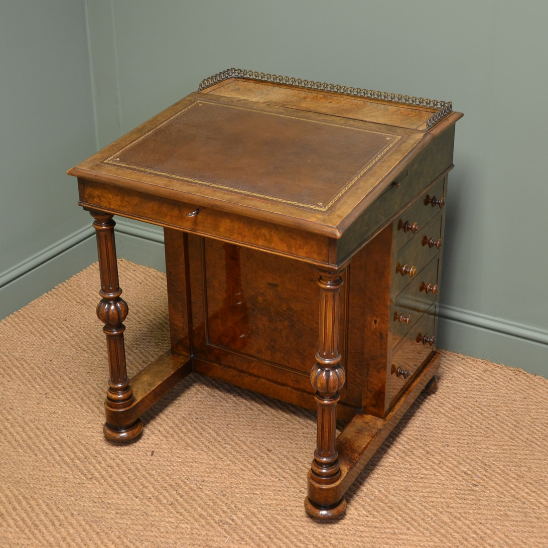 Spectacular Figured Burr Walnut Victorian Antique Davenport Writing Desk - Spectacular Figured Burr Walnut Victorian Antique Davenport Writing
