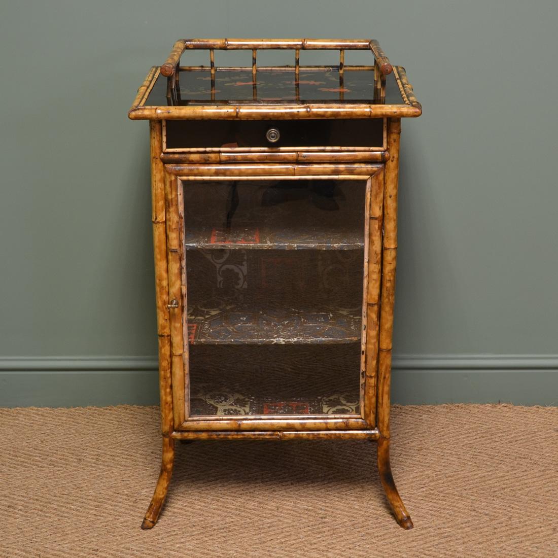 Unusual Decorative Victorian Antique Bamboo Cabinet