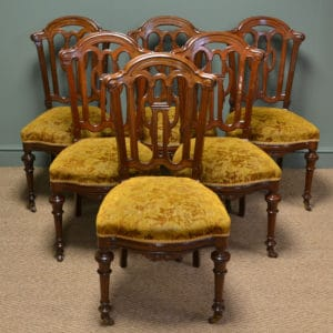 Beautiful Set Of Six Victorian Mahogany Antique Dining Chairs