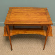 Unusual, Quality Victorian Antique Satinwood Occasional Side / Sofa Table