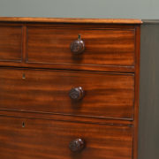 Regency Mahogany Antique Chest Of Drawers with Decorative Carved Handles.