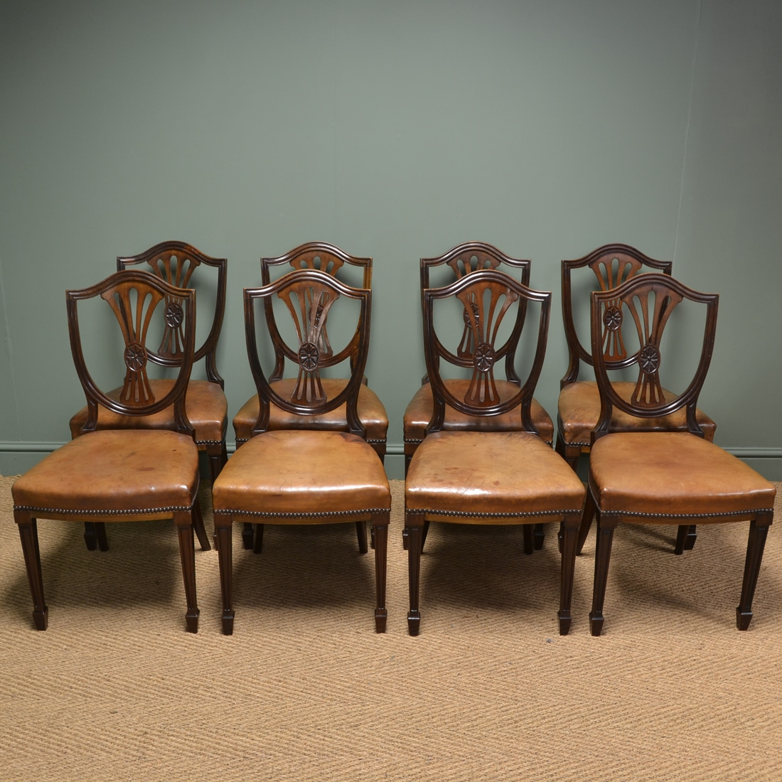 Antique Dining Chairs: Set Of Eight Edwardian Country House Walnut And Leather