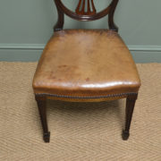 Set of Eight Edwardian Country House Walnut and Leather Antique Dining Chairs