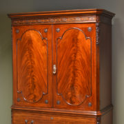 Spectacular Quality Figured Mahogany Edwardian Antique Linen Press / Wardrobe