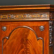 Spectacular Quality Figured Mahogany Edwardian Antique Linen Press / Wardrobe