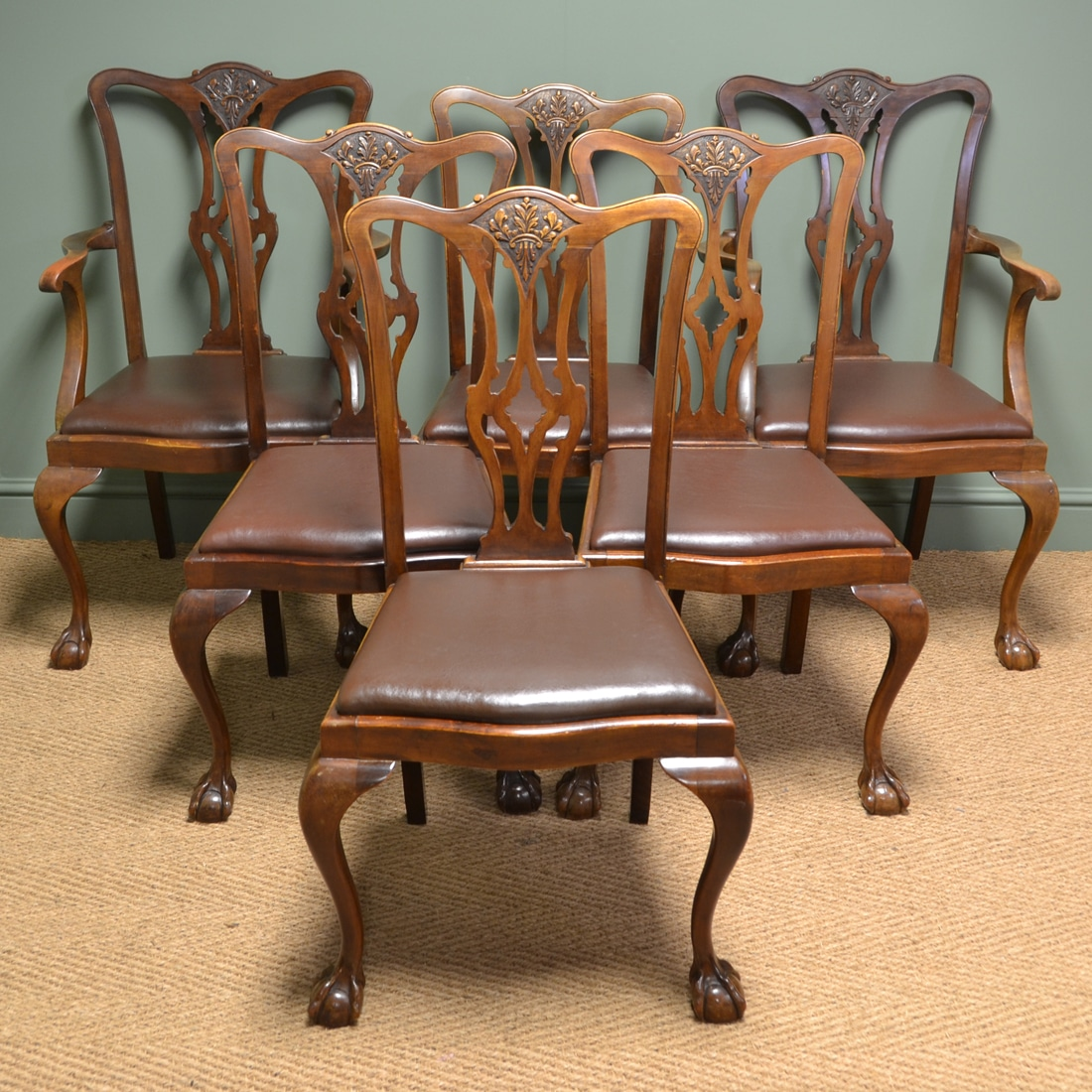 Set of Six Edwardian Walnut Antique Dining Chairs ...