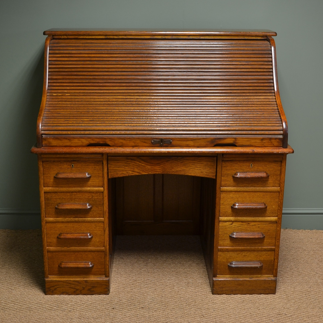 Large Edwardian Oak Antique Roll Top Desk Antiques World