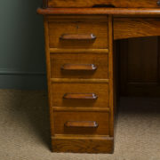 Large Edwardian Oak Antique Roll Top Desk