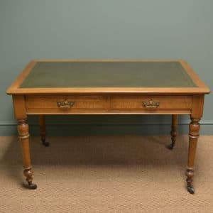 Superb Quality Victorian Golden Oak Antique Writing Table / Desk