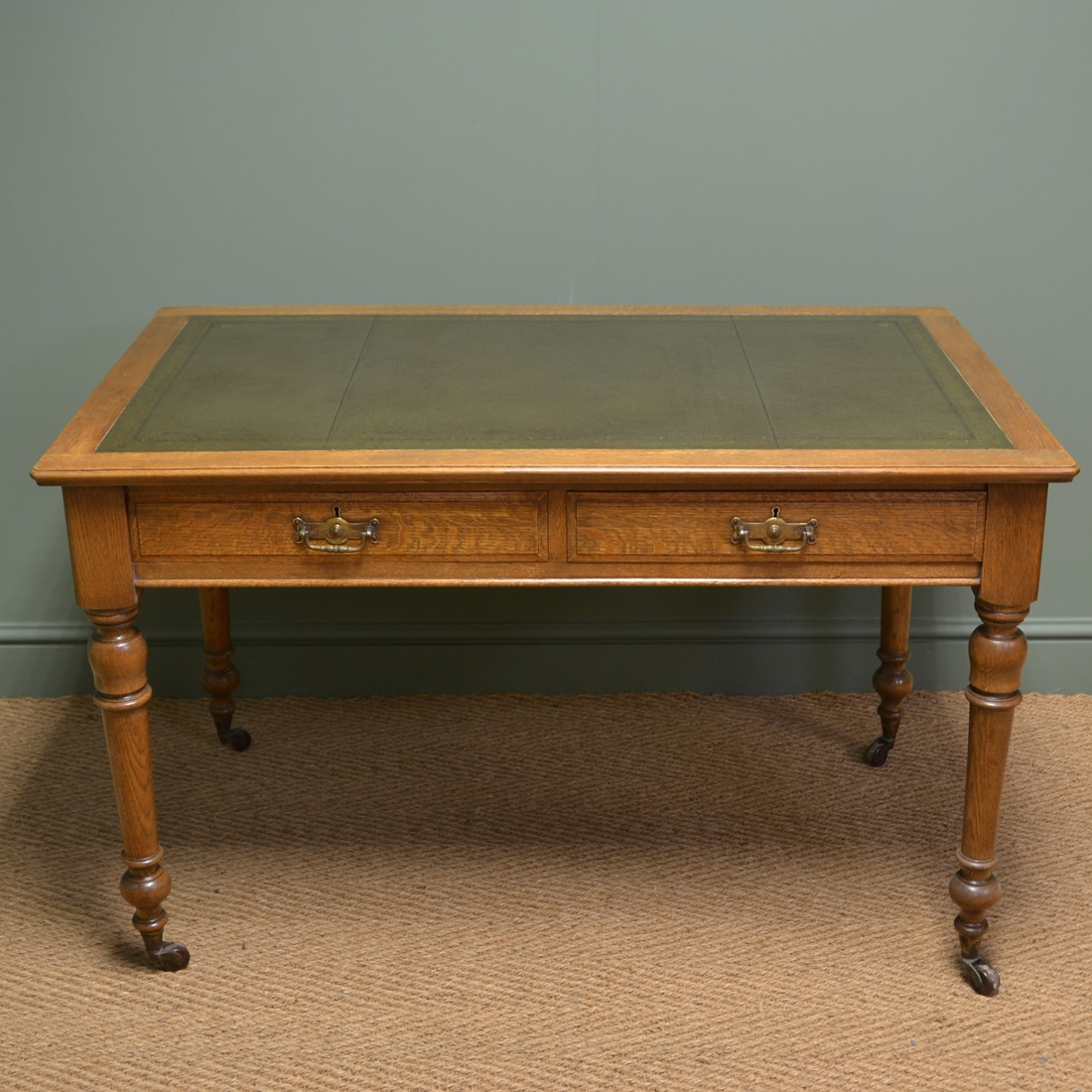 Superb Quality Victorian Golden Oak Antique Writing Table