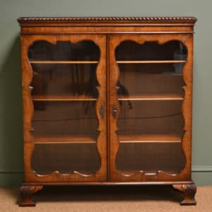 Striking Edwardian Figured Walnut Antique Display Cabinet / Bookcase