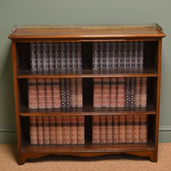 Quality Victorian Walnut Antique Open Bookcase with Brass Gallery