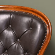 Magnificent Victorian Mahogany / Leather Button Back Antique Arm Chair