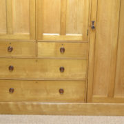 Striking Large Golden Ash Victorian Arts and Crafts Antique Triple Wardrobe