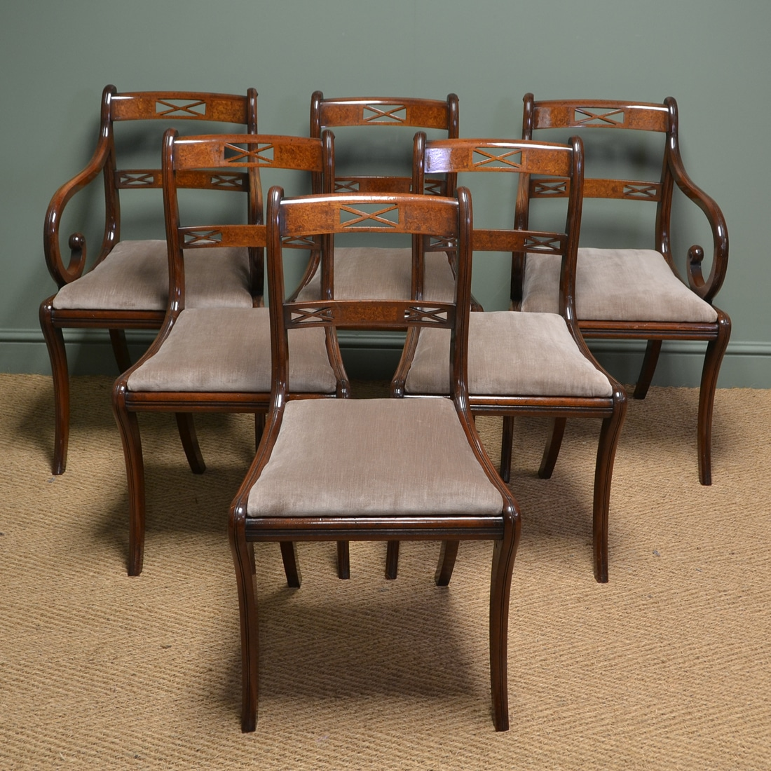 Elegant Regency Design Mahogany Double Sabre Leg Set Of 6 Antique Dining Chairs Antiques World