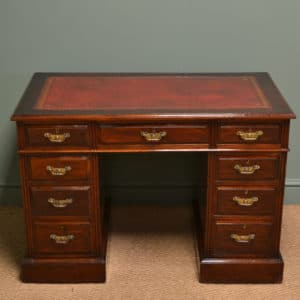 High Quality Victorian Walnut Antique Pedestal Desk