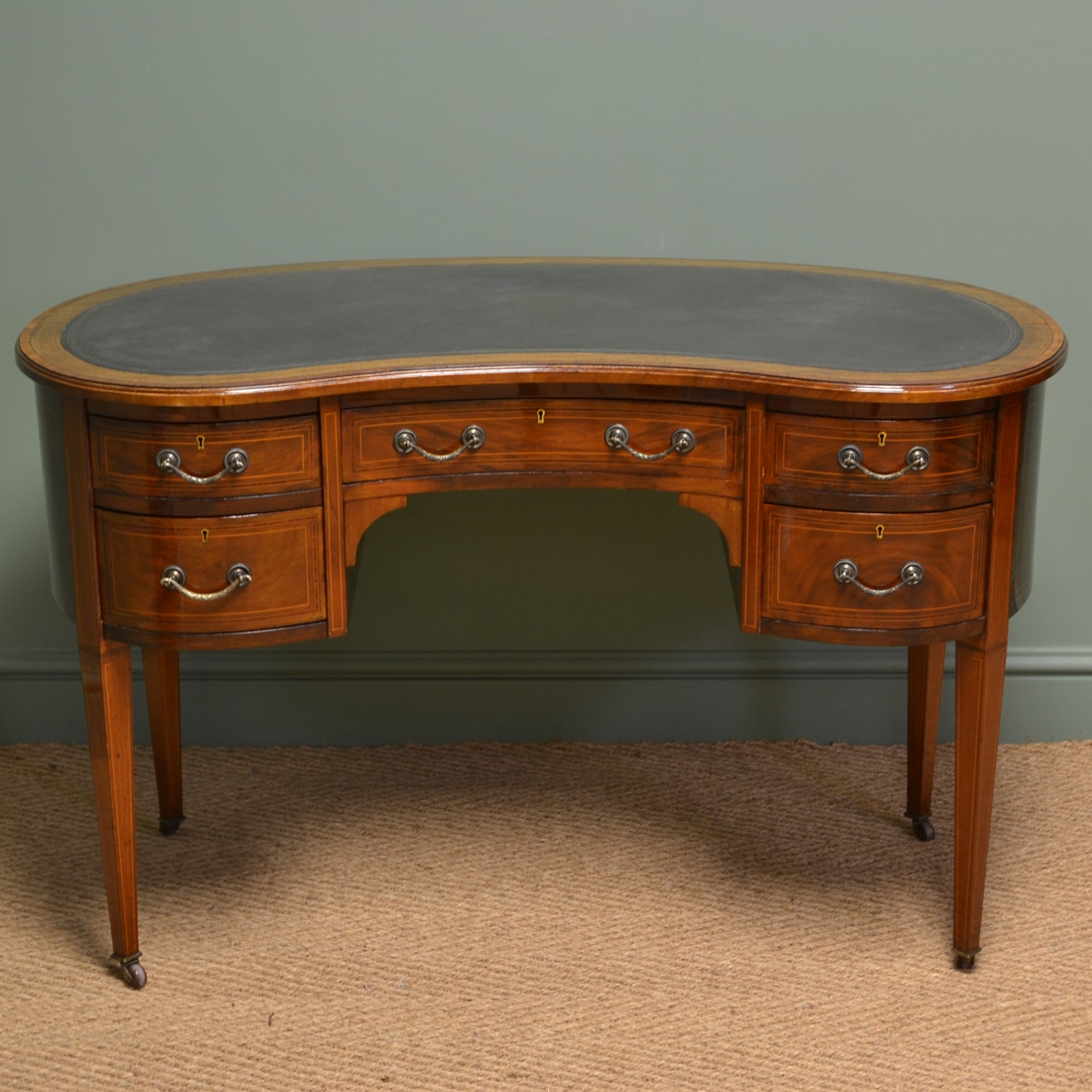 Antique Writing Desk ~ Beautiful inlaid victorian mahogany antique kidney shaped