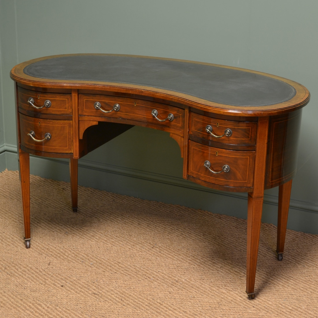 Beautiful Inlaid Victorian Mahogany Antique Kidney Shaped Writing Desk