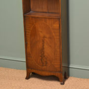 Unusual Tall Slim Inlaid Mahogany Antique Edwardian Bookcase