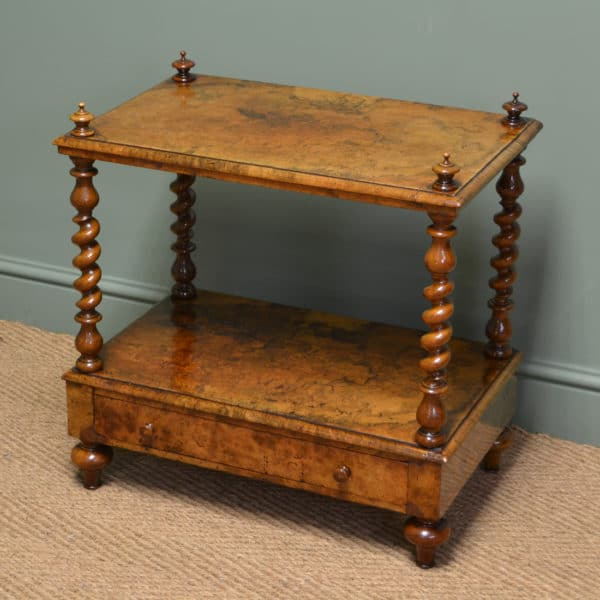Spectacular Figured Golden Walnut Antique Victorian Side Table