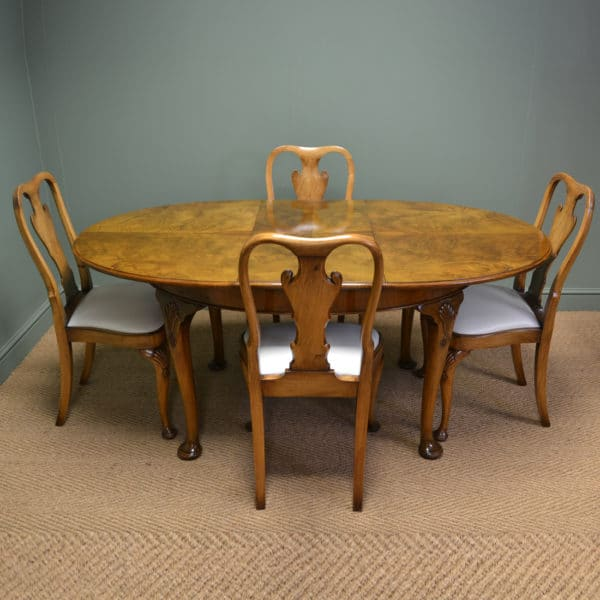 Quality Art Deco Golden Walnut Table with Matching Four Chairs