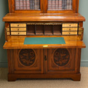 High Quality Victorian Walnut Antique Secretaire Bookcase