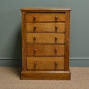 Unusual Superb Quality Victorian Golden Oak Antique Wellington Chest