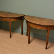Pair of Georgian Antique Mahogany D End Console Tables