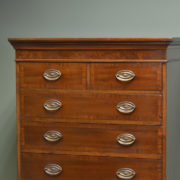 Tall Victorian Crossbanded Antique Mahogany Chest Of Drawers