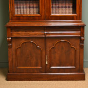 Striking Victorian Mahogany Antique Glazed Bookcase on Cupboard