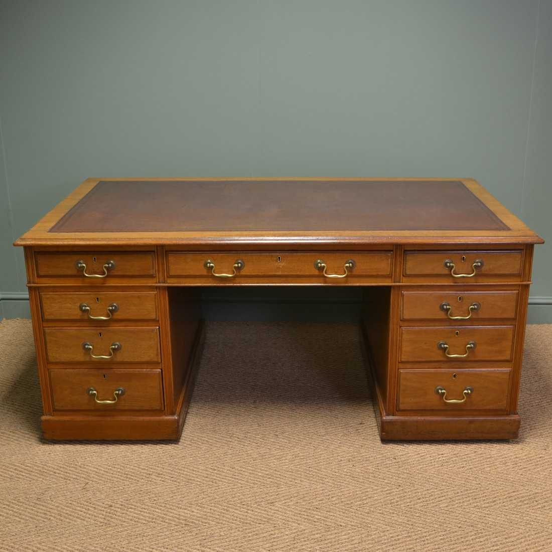 Large edwardian walnut antique office desk antiques world - Walnut office desk ...