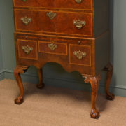 Spectacular Burr Walnut Antique Chest on Stand