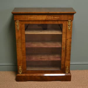 Magnificent Golden Walnut Antique Inlaid Pier Cabinet