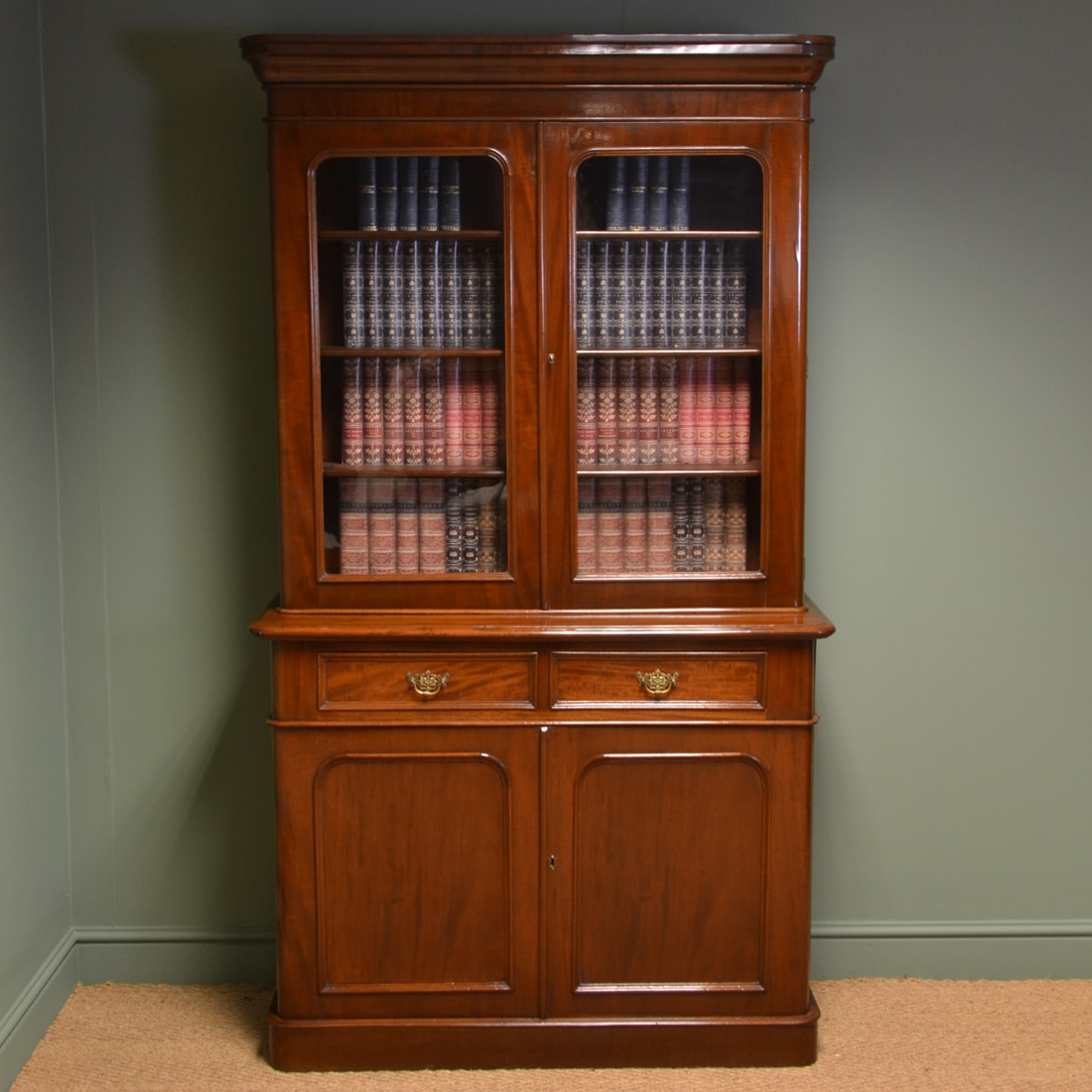 Old Bookcase Uk : Quality victorian mahogany antique bookcase on cupboard