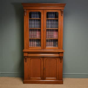 Mellow Mahogany Victorian Antique Bookcase on Cupboard